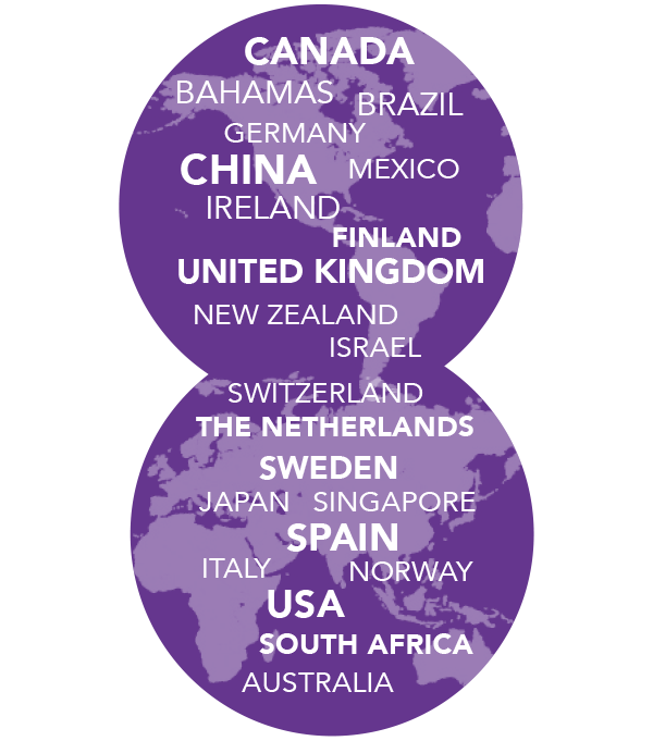 22 countries represented: Australia, Bahamas, Brazil, Canada, China, Finland, Germany, Ireland, Israel, Italy, Japan, Mexico, New Zealand, Norway, Singapore, South Africa, Spain, Sweden, Switzerland, The Netherlands, United Kingdom, USA