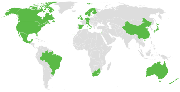 Home countries of IEG Conference delegates